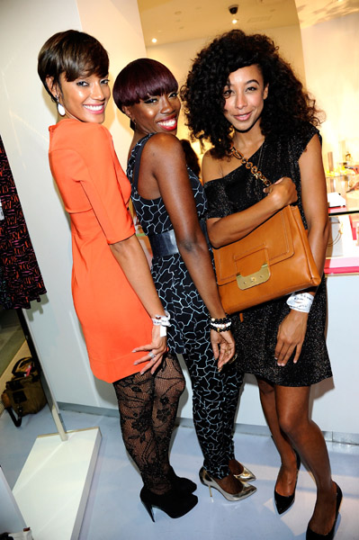 Selita Ebanks, Estelle and Corinne Bailey Rae attend the DVF Celebration during Fashion's Night Out at DVF New York on September 8, 2011 in New York City.