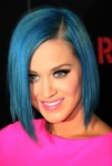 In true 'Smurfette' style, Katy Perry goes blue with the hair.