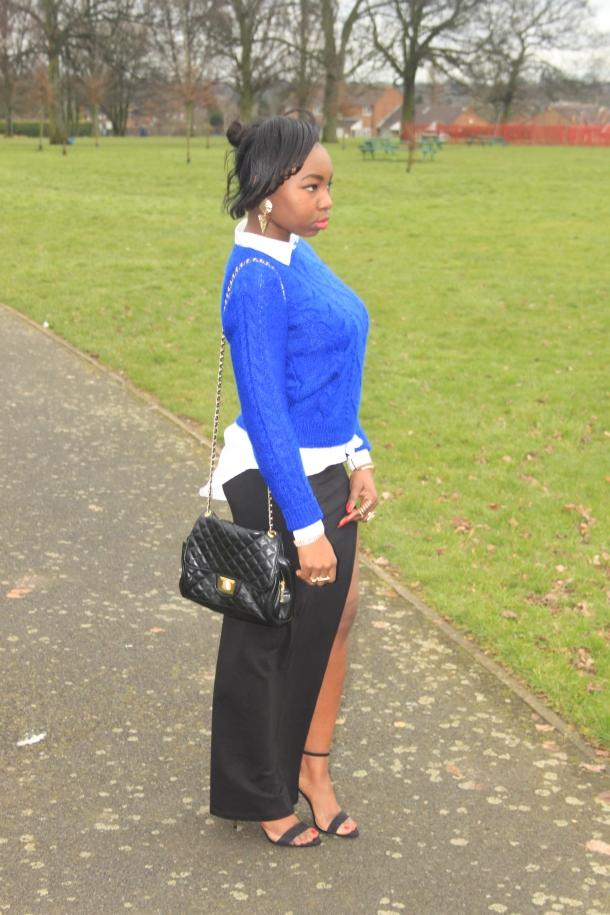 cornflower blue jumper outfit
