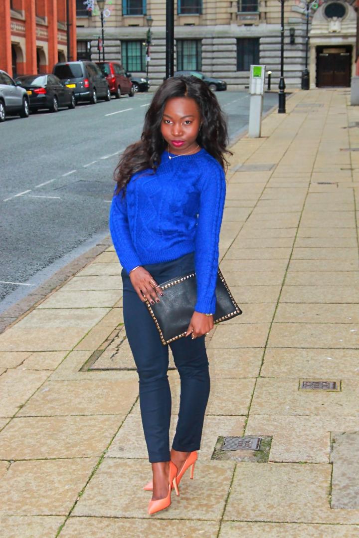 zara orange pumps and cashmere conflower blue jumper artbecomesyou