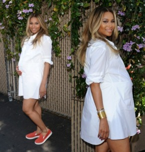 Hot or No Ma'am: Ciara's White Shirt Dress and Prada Red Slip-On Sneakers At The Safe Kids Day Event