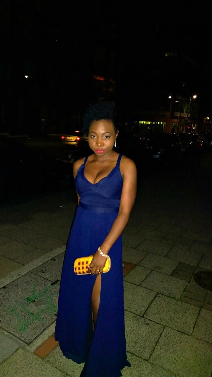 art becomes you blue slit dress