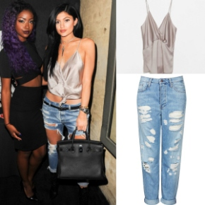 Steal Her Style: Kylie Jenner's Justine Skye's Birthday Party Topshop Moto Distressed Boyfriend Jeans & Zara Nude Cami Crossover Top