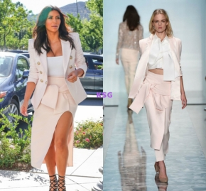 Steal Her Style: Kim Kardashian's Menchie's Maticevski Bow Skirt, Alaia Bodysuit and Balmain Pink TweedBlazer