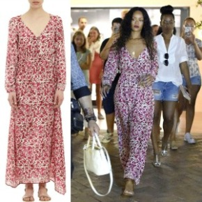 Steal Her Style: Rihanna's Natalie Martin Asymmetric Floral Print Silk Maxi Dress Out In Sardinia