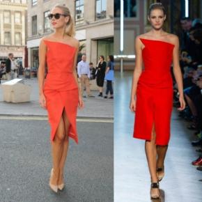 Steal Her Style: Kimberley Garner's Freemason's Hall London Fashion Week  Roland Mouret Structured Orange Strapless Dress and Jimmy Choo Abel NudePumps