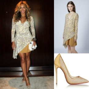 Steal Her Style: Beyonce's Tumblr Topshop Unique Asymmetrical Silk Rope Print Dress and Christian Louboutin Follies Resille Fishnet Pump