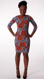Butterfly Print Bodycon Dress in Blue