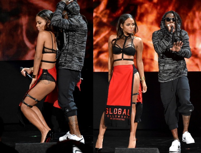 CHRISTINA MILIAN IN AGENT PROVOCATEUR TOP & ROCKY RUG HARNESS AND RED SKIRT – AMERICAN MUSIC AWARDS SHOW PERFORMANCE 2014