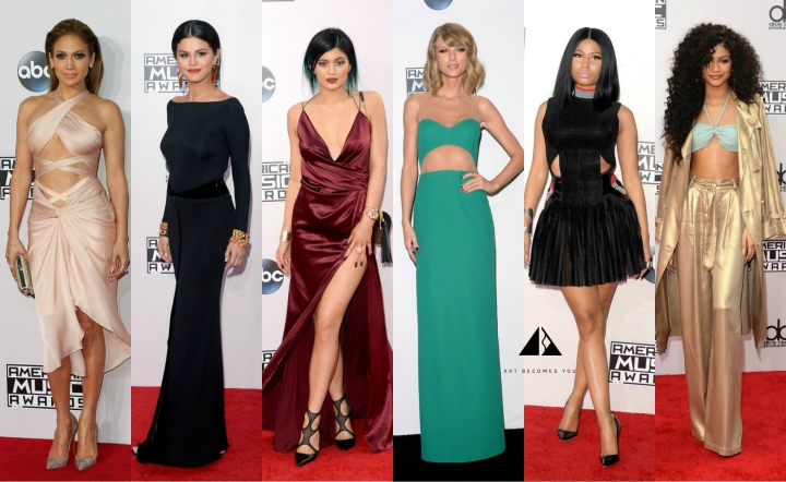 the 2014 american music awards jennifer lopez, selena gomez, nicki minaj, taylor swift, zendaya coleman, kylie jenner