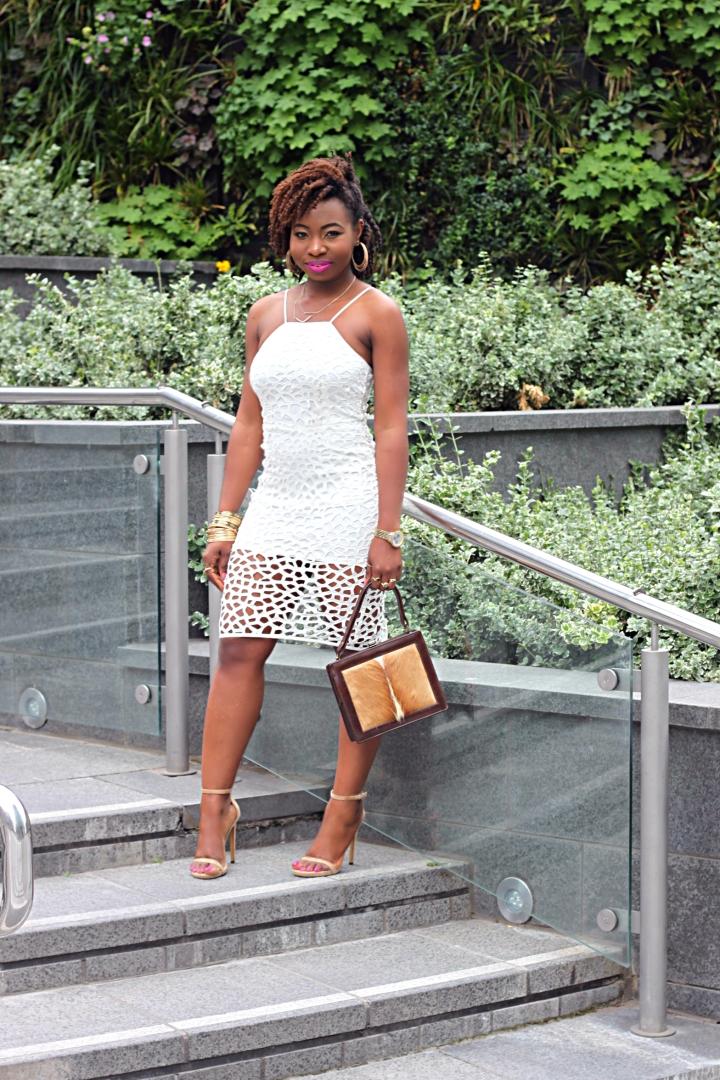laser cut white dress slip