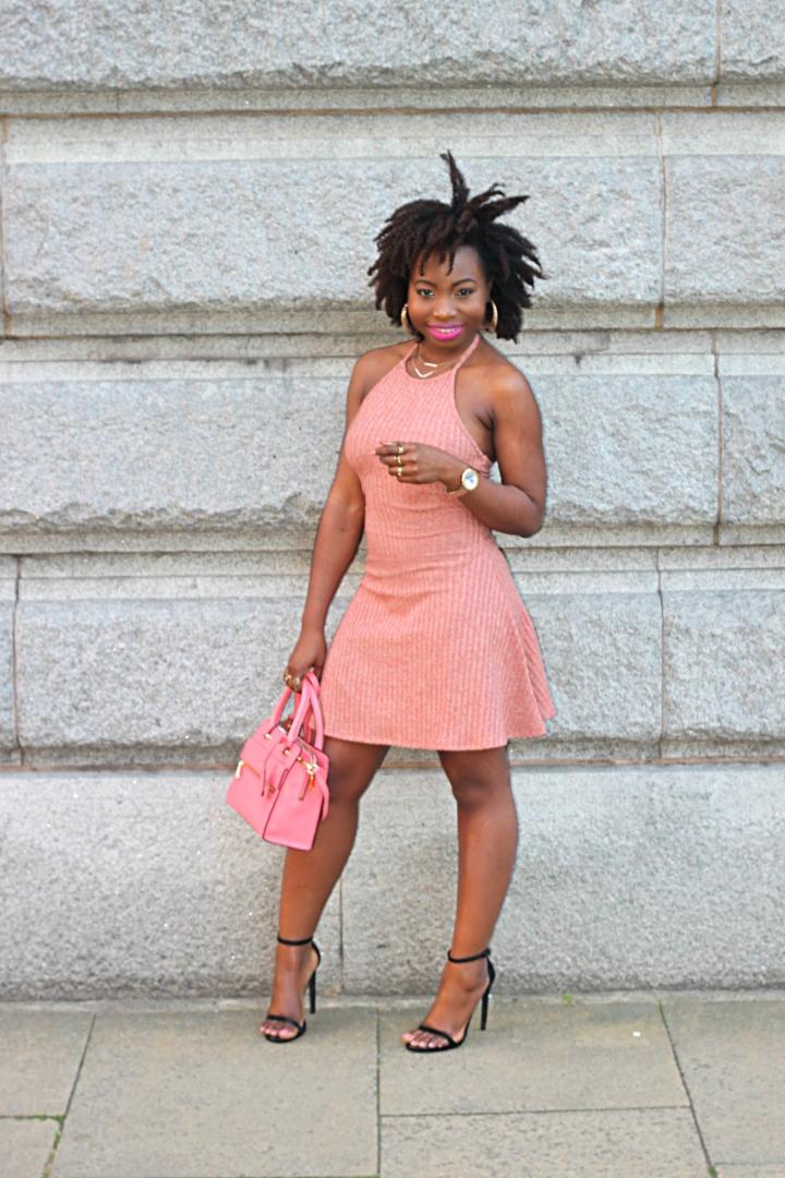 ribbed dress pink 80