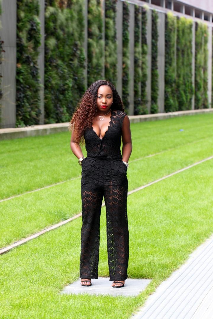 sheer lace black jumpsuit a