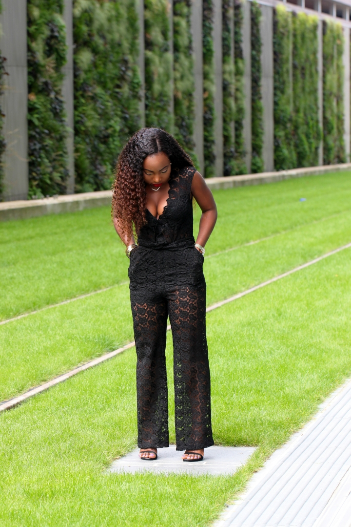 sheer lace outfit black jumpsuit a