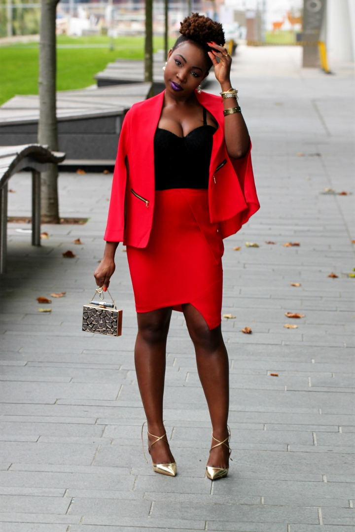 cape red outfit natural hair a