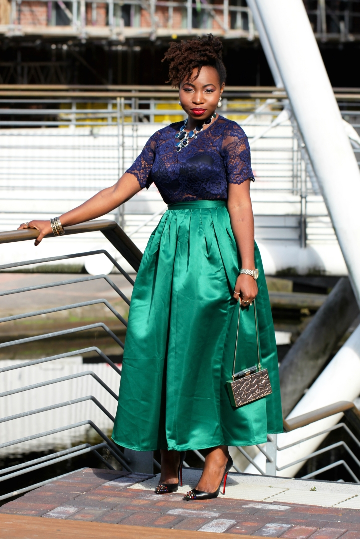 maxi green skirt choies a