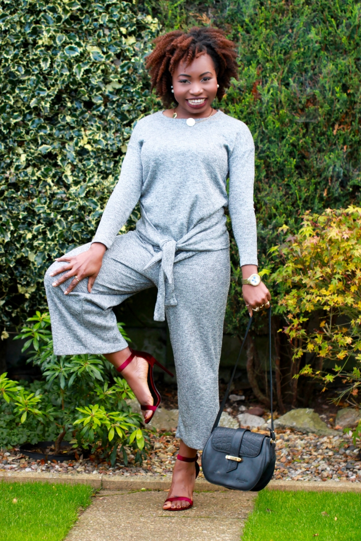 pull n bear grey knit ribbed outfit a
