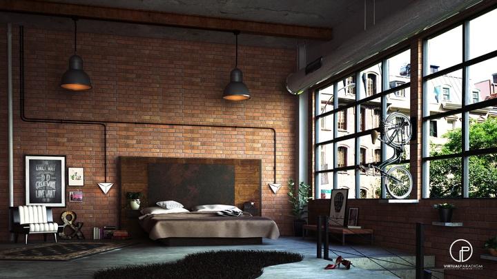 industrial-brick-wall-bedroom