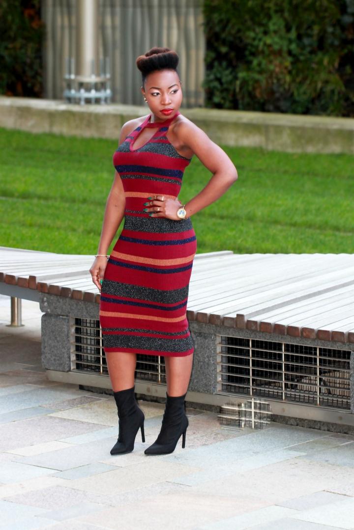 ribbed blue vanilla halter stripe dress a