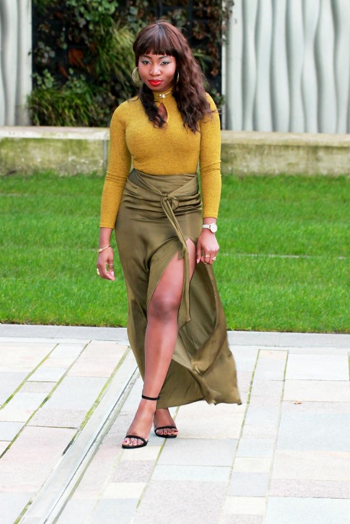 chartreuse knit ribbed jumper asos skirt a
