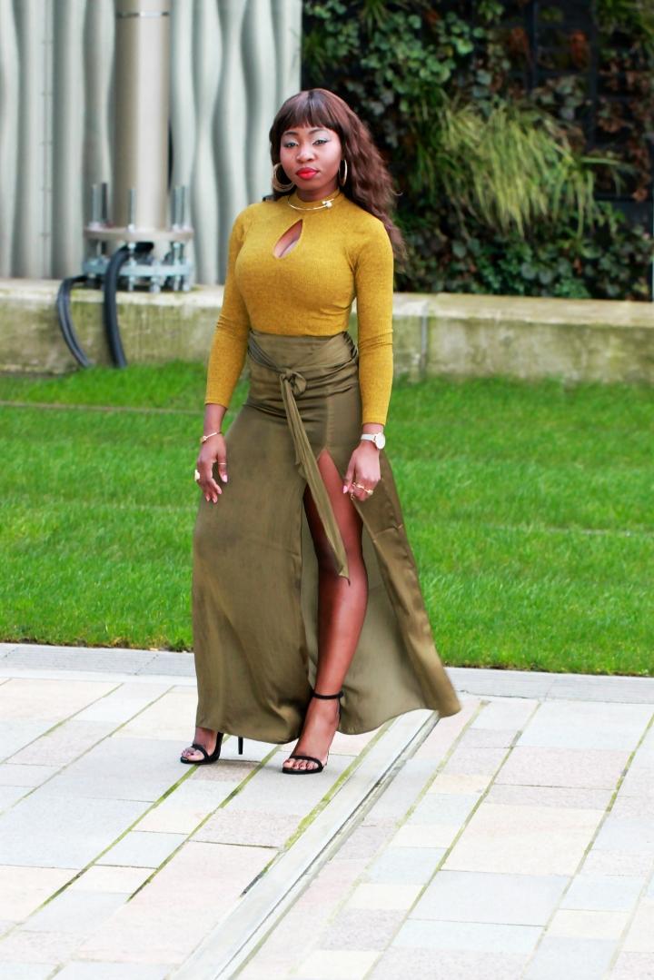 chartreuse maxi skirt olive knit jumper a