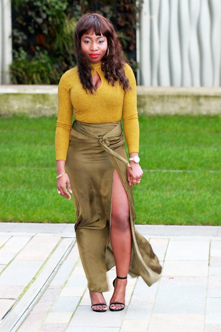 chartreuse olive maxi skirt asos knit jumper a