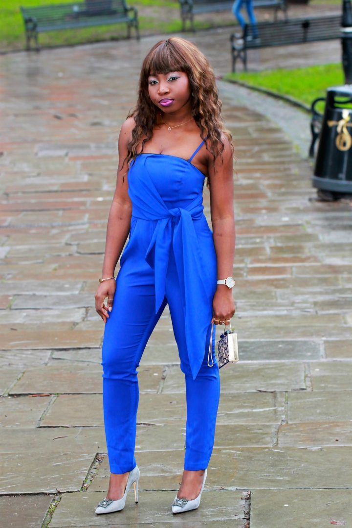 electric blue tie jumpsuit dune breanna grey heels a