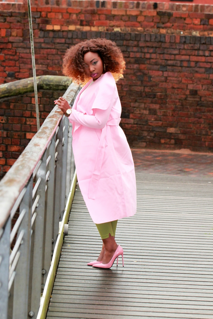 green trousers pink shein coat a