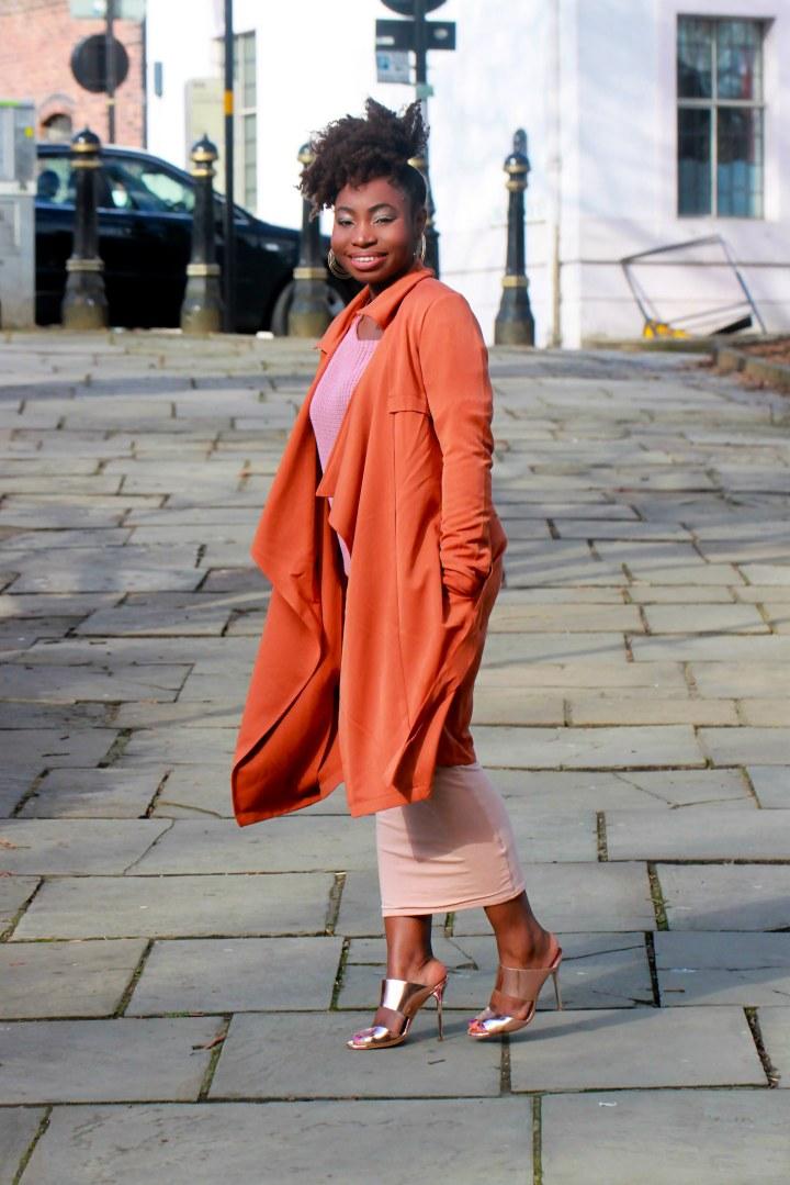 mauve jumper orange coat a