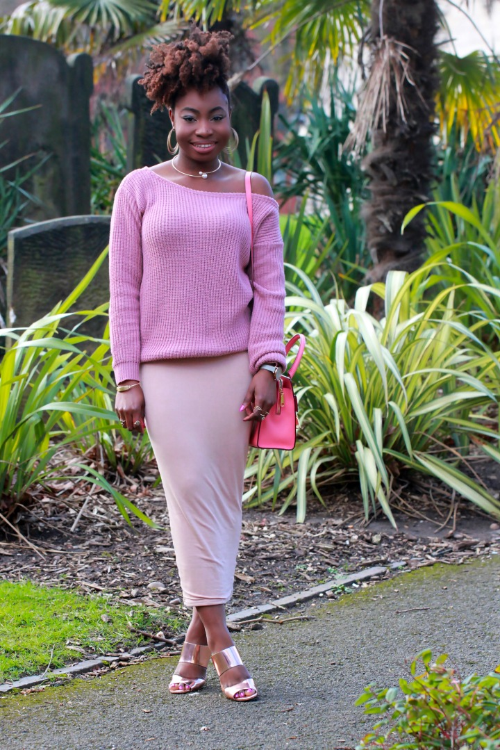 mauve natural hair ootd chunky knit a