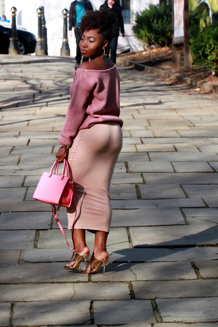 mauve tube skirt outfit ootd a