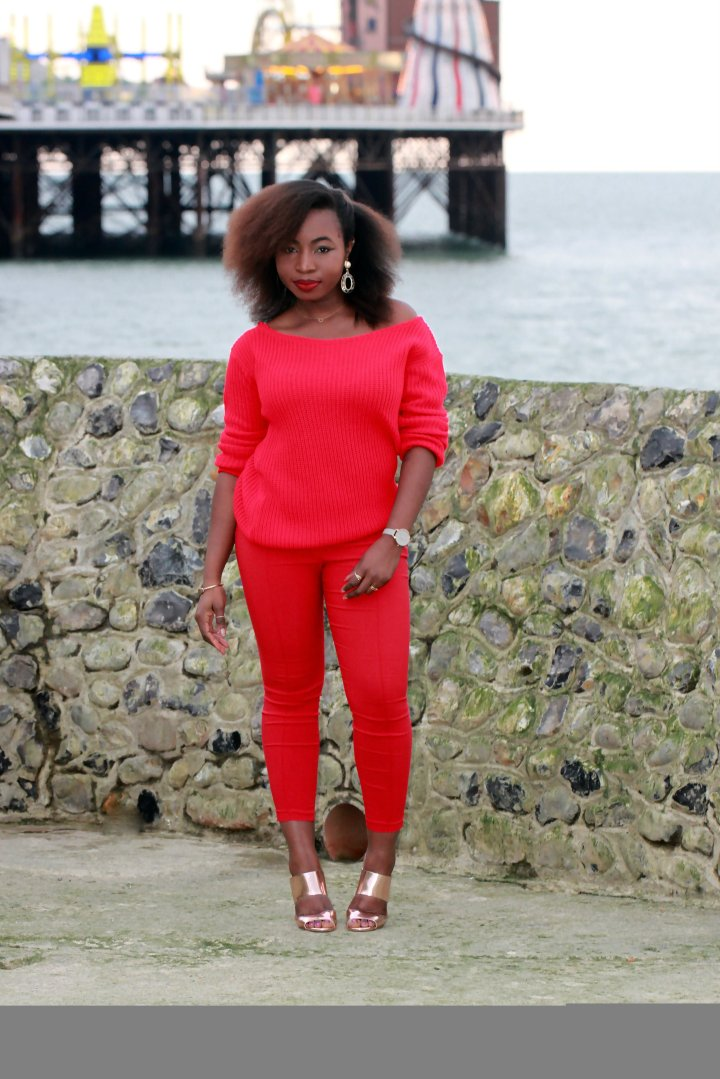 missguided chunky knit red jumper office mules a