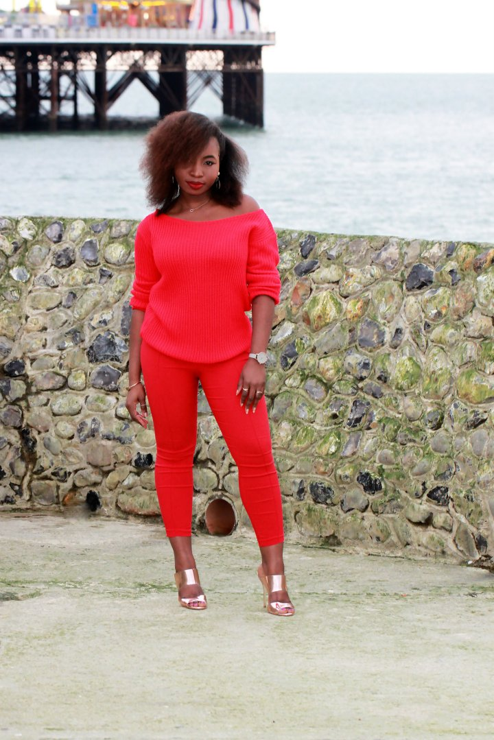 missguided chunky knit red sweater a