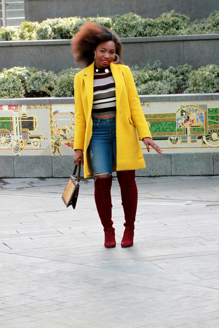 yellow coat over the knee boots a