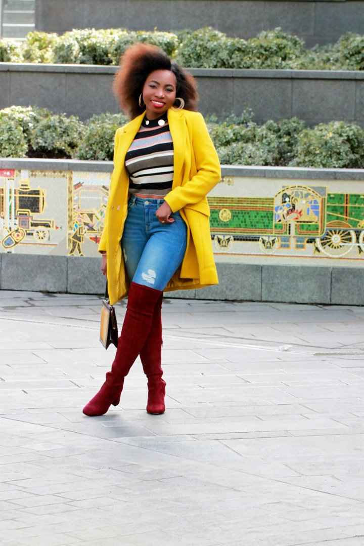 yellow coat over the knee suede boots a