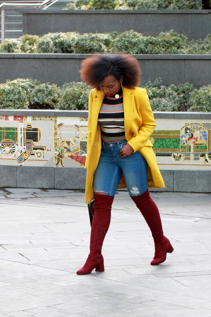 yellow coat over the knee suede new look boots