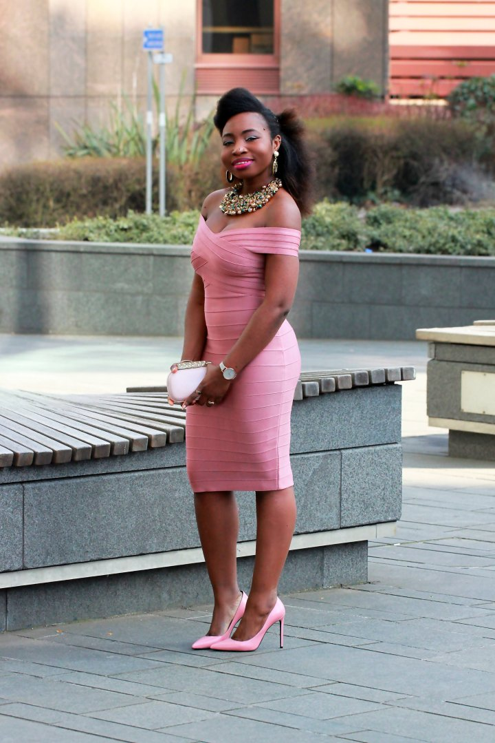 bandage kewl shop dust pink dress  a
