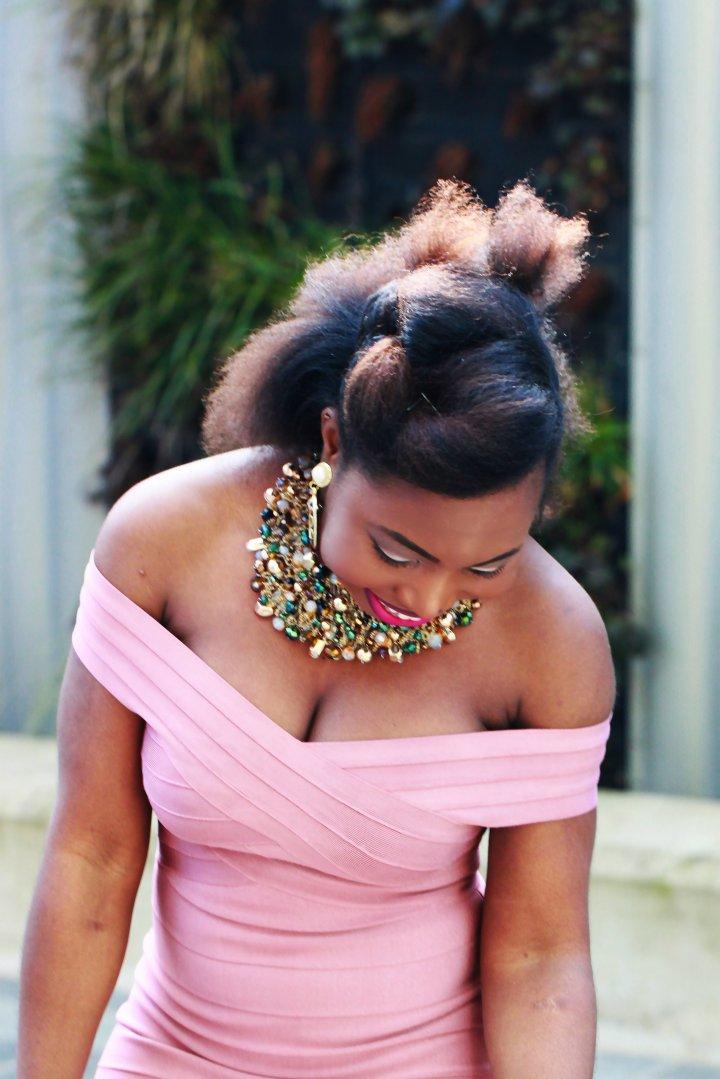 kewl shop bandage dress outfit natural hair a