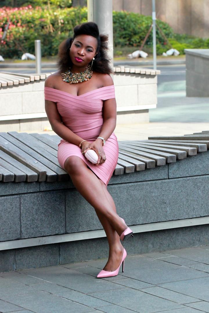 kewl shop mink pink bandage dress a