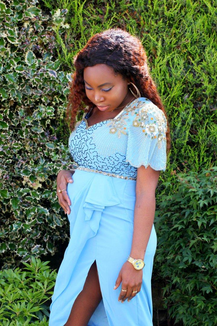 laila beaded blue virgos lounge dress a