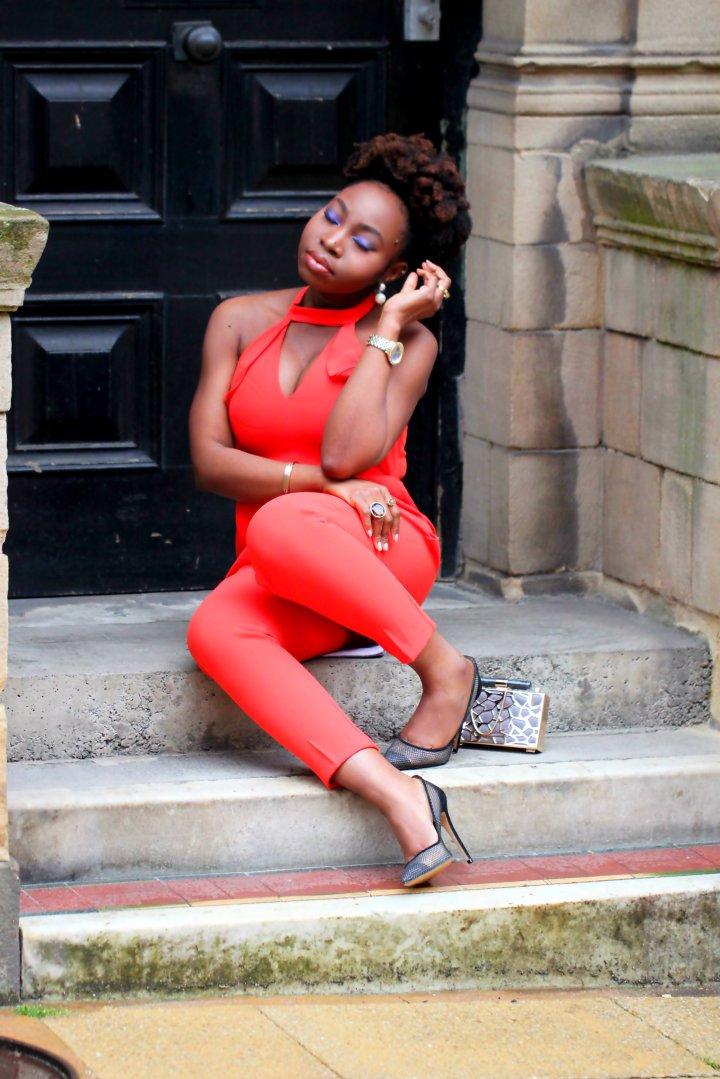 orange jumpsuit frill ootd a