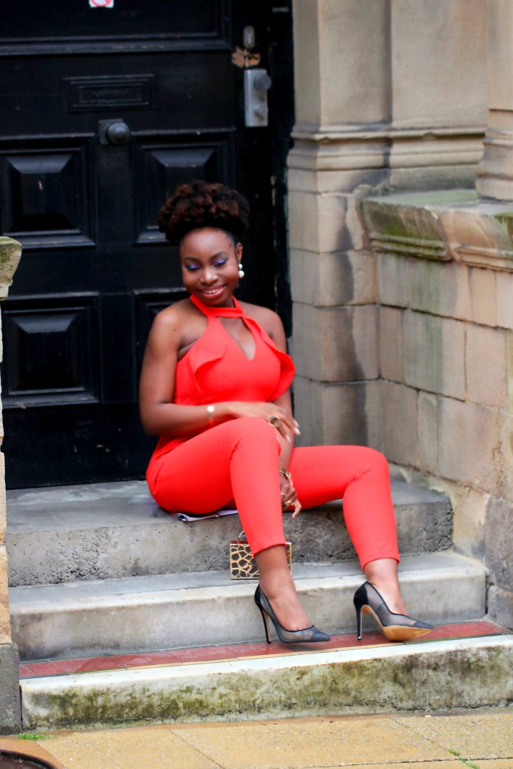 red frill river island jumpsuit office mesh heels a