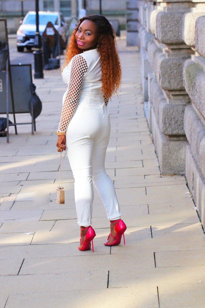 white mesh jumpsuit kurt geiger tassel heels a